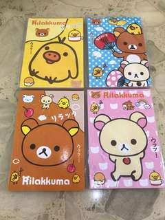 Rilakkuma 輕鬆小熊筆記簿仔4本