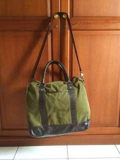 Traveling bag tas H&M hijau navy