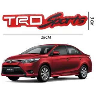 TRD Sports Red trunk emblem Stick on type Cars Aluminum 3D