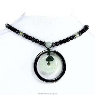 🚚 珍珠林~特價結緣品~僅此一件~A貨緬甸翡翠玉壁型避邪平安扣.羅漢眼項鍊#284