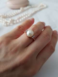 Pearl Diamond 14k real gold ring Repriced