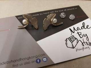 Earrings silver 925 Ginkgo biloba 純銀手造耳環銀杏葉