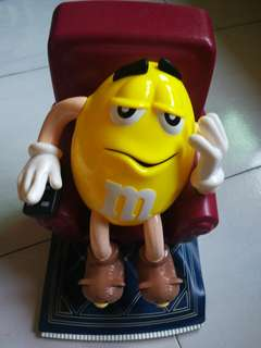 M&M Limited Edition Lazy Boy Yellow In Recliner w/Remote Candy Dispenser