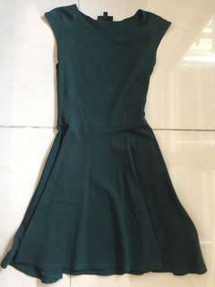 Topshop dark green basic t shirt dress