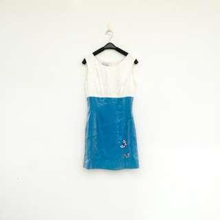 🚚 二手 藍白 亮珠光 洋裝 明太子 603