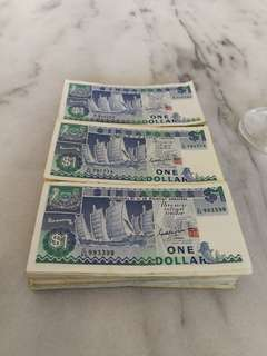 Singapore $1 ship series currency note (250 pcs)币