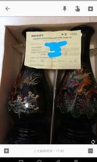 26年古董脱胎漆花瓶(龍形圖案)一對