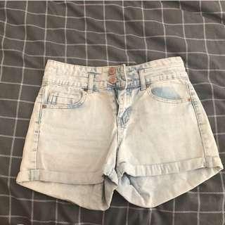 Light acid wash shorts