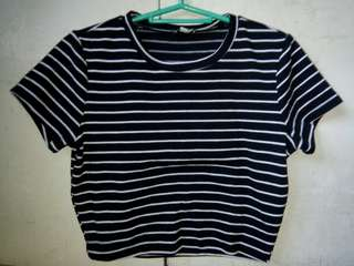 Fitted Crop Top (Stripes)
