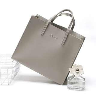 包郵 日本雜誌 Mila Owen 質感 灰色簡約pu氣質小拎包便當包 手挽袋 手袋