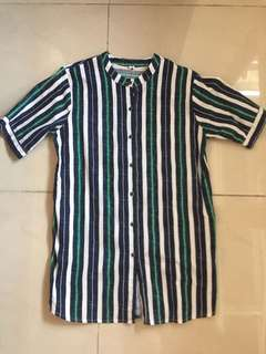Linen cotton stripes shirt dress/tunic top