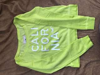 Hollister Lime Yellow Long sleeved croptop