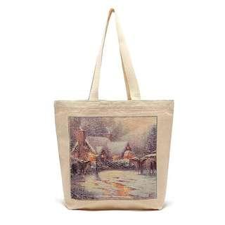 油畫印花~盒裝 純棉麻帆布袋單肩包手提袋環保袋購物袋