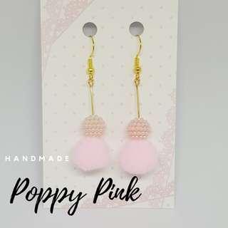 Handmade Poppy Pom Earrings