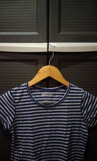 Navy Blue & Grey Striped Top