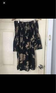 Black off shoulder floral dress with trumpet sleeves