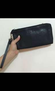 Coach F87587 Double Zip Pebble Leather Wristlet Wallet BLACK