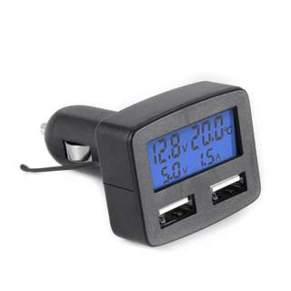 5in1 Dual USB Car Charger Voltmeter Monitor Thermometer