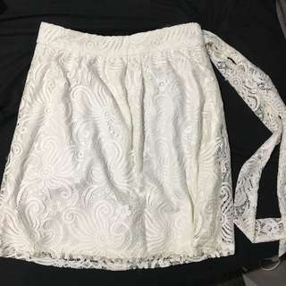 """British India """"Just B"""" White Lace Thigh Skirt with Lace Tie"""