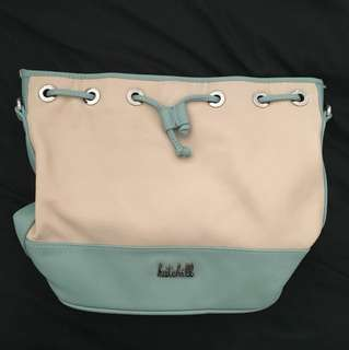 Shoulder Cross Body Convertible Kate Hill Bag in Nude Beige and Blue, Genuine Leather