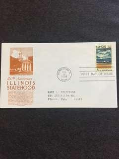 US 1968 Illinois Statehood FDC stamp