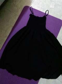 Selections繡花滾邊棉質衣十黑色氣質吊帶裙