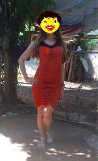 REPRICED!- Orange Fitted Dress