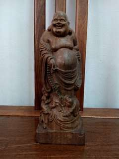 Old Wooden laughing buddha (wood craving)