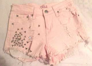 Studded baby pink shorts