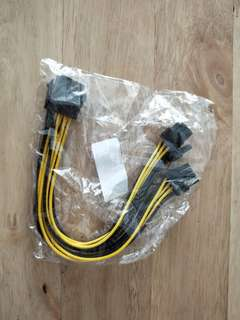 8 pin female to 6+2 pin male pcie power cable