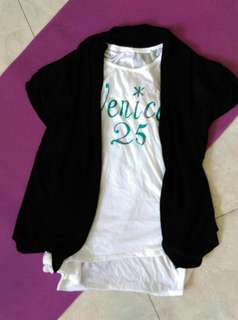 SOUL OFFREEDOMI白色長版衣十黑色針織罩衫