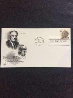 US 1968 6c Franklin Roosevelt Vertical Coil FDC stamp