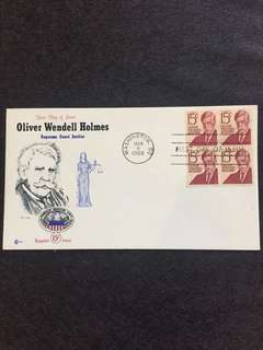US 1968 15c Oliver Wendell Holmes Blk4 FDC stamps