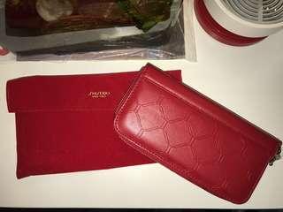 SHISEIDO 紅色 長銀包 連保護套