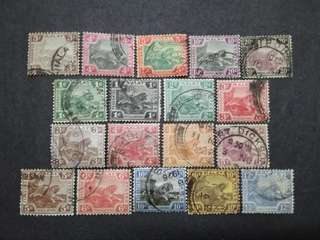 FMS Federated Malay States 1901-1931 Malaya Tiger - 18v Used Stamps