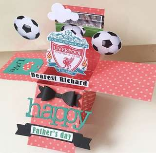 🚚 Happy Father's day Handmade Liverpool Pop Up card
