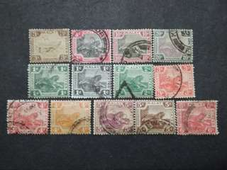 FMS Federated Malay States 1901-1931 Malaya Tiger - 13v Used Stamps