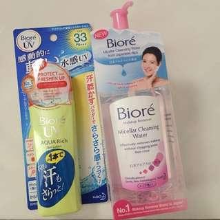 Biore Sunblock and biore make up remover