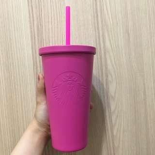 星巴克 starbuckes 不鏽鋼 桃紅 冷水杯