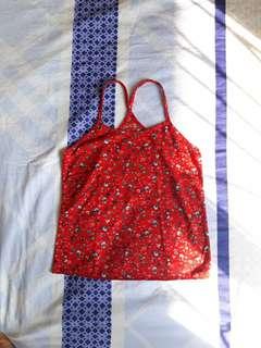 Red Floral Halter Crop Top