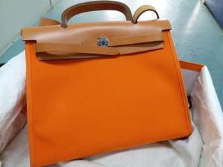 Hermes Toile Herbag Zip 31 PM Orange