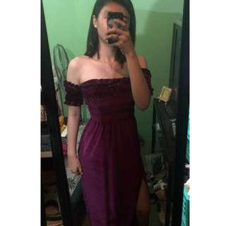 Velvet smocked dress with slit