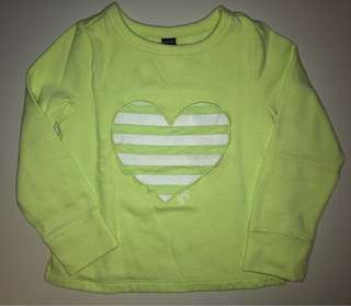 light green Gap sparkly heart sweater