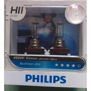 Pair Genuine PHILIPS H11 Blue Ultra Vision Halogen Bulb 4000K 12V 55W Car Light