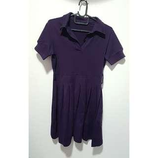 2for$10 Dark Purple Pleated Shirt Dress