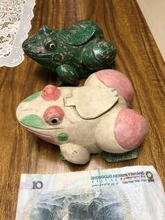 柯利民 50年代 木製 青蛙 (frog 福) 墨水筆匣一對