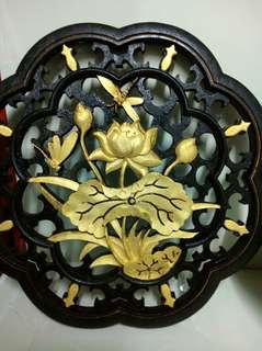 Water lily wooden board with gold and black