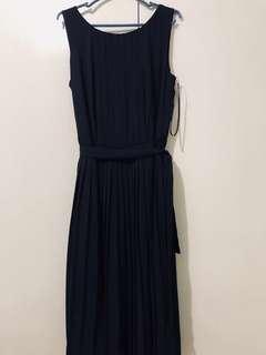 Midnight Blue Pleated Dress