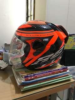 Helm NHK R6 Edisi Spesial Racer X Orange Hitam