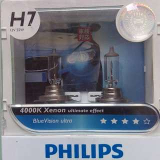 Pair Genuine PHILIPS H7 Blue Ultra Vision Halogen Bulb 4000K 12V 55W Car Light